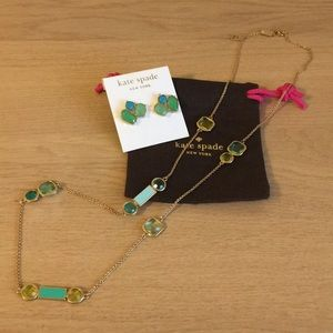 Kate spade coral blue/green long necklace